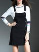 Black Stripes Crew Neck Two Piece Knitted Buttoned Mini Dress