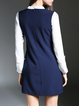 Navy Blue Casual Color-block Stand Collar Mini Dress
