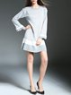 Gray Frill Sleeve Color-block Flounce Stripes Sweater Dress