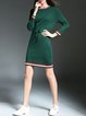 Green Casual Knitted Cotton Sweater Dress