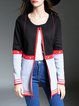 Black Knitted Stripes Casual Color-block Cardigan