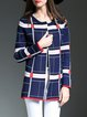 Navy Blue Long Sleeve Checkered/Plaid Knitted Cardigan