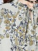 Blue Short Sleeve Floral-print Linen Linen Dress