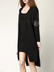 Black High Low Long Sleeve Casual Cardigan