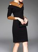 Sheath Color-block V Neck Elegant 3/4 Sleeve Midi Dress