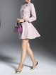 Pink Solid Elegant A-line Mini Dress