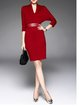 Symmetric Elegant 3/4 Sleeve Midi Dress