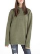 Green ZipperStand Collar Wool Blend Sweater