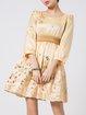 Yellow Girly Crew Neck Floral Mini Dress