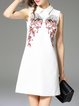 White Embroidered Sleeveless H-line Mini Dress