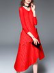 Red Crew Neck Asymmetrical Casual Midi Dress