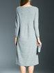 Gray Plain Bateau/boat Neck Pleated Long Sleeve Midi Dress