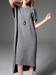 Gray Asymmetric Simple Wool Midi Dress