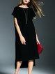 Black Wool Short Sleeve Shift Asymmetric  Midi Dress