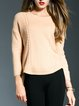 Yellow Wool Long Sleeve Plain Knitted Sweater