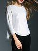 White Wool Asymmetric Crew Neck Long Sleeve Sweater