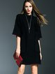 Black Stand Collar Batwing Pockets Simple Midi Dress