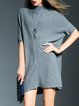 Gray Asymmetric Simple Plain Wool Mini Dress