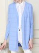 Light Blue Slit Casual Knitted Solid Cardigan