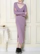 Pink Keyhole Cutout Knitted Slit Elegant Sheath Sweater Dress