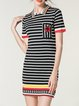 Black Short Sleeve Stripes Bodycon Knitted Mini Dress