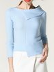 Asymmetrical Girly Solid 3/4 Sleeve Knitted Long Sleeved Top