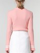 Pink Casual Crew Neck Bell Sleeve Knitted Stripes Long Sleeved Top