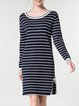 Navy Blue Long Sleeve Stripes Slit Knitted Sheath Midi Dress