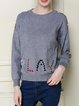 Gray Beaded Knitted Letter Long Sleeve Sweater