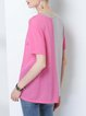 Color-block Paneled Crew Neck Shift Asymmetric Short Sleeve Casual T-Shirt