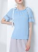 Asymmetric Casual Knitted Short Sleeve Crew Neck Nylon T-Shirt