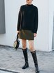 Army Green Solid Casual Pockets Midi Skirt