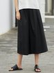 Cotton-blend Long Sleeve Solid Wide Leg Pant