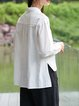 Simple Solid Shirt Collar Long Sleeve Blouse