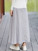 Pockets Solid Casual Midi Skirt