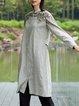 Shirt Collar Long Sleeve Cotton Shift Midi Dress