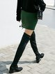 Dark Green Casual Solid Lace Up Mini Skirt