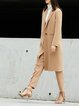 Solid Wool Lapel Long Sleeve Trench Coat