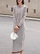 Casual A-line Long Sleeve Stripes Dress