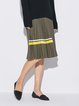 Pleated Casual Solid Shift Midi Skirt