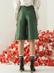 Green Fringed Cotton-blend Cropped Pants