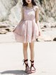 Zipper Swing Pink Stripes Gathered Girly Mini Dress