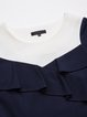 Navy Blue Plain Ruffled Buttoned Mini Dress