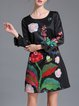 Black Frill Sleeve Shift Floral Printed Polyester Mini Dress