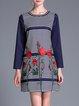 Blue Shift Embroidered Paneled Long Sleeve Mini Dress