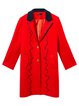 Orange Buttoned Wavy Printed Lapel H-line Coat