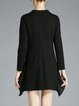 Black Beaded A-line Long Sleeve Mini Dress