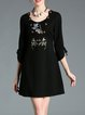 Black Scoop Neck Floral-embroidered 3/4 Sleeve Mini Dress