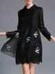 Black Lace Animal Embroidered A-line Mini Dress