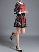 Multicolor A-line Floral Long Sleeve Midi Dress